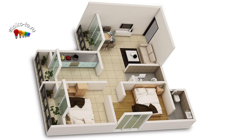 Сколько стоит двухкомнатная квартира в Москве